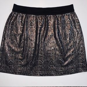 🐍 Mango Silver and Bronze Snake Print Mini Skirt